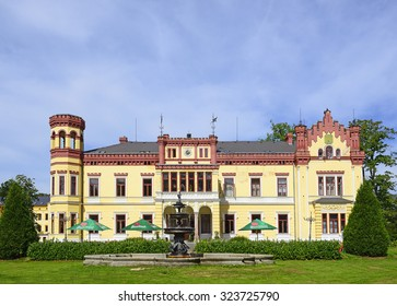 CHEB, CZECH REPUBLIC - AUGUST 27, 2015: Castle Mostov stands in the village Mostov, near the town of Cheb, Karlovy Vary region. Since 1992 it is protected as a cultural monument of the Czech Republic