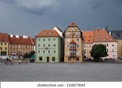 Cheb, CZECH REPUBLIC, July 28,2018: Historical beautiful buildings from the traditional town Cheb, Czech Republic. Editorial.