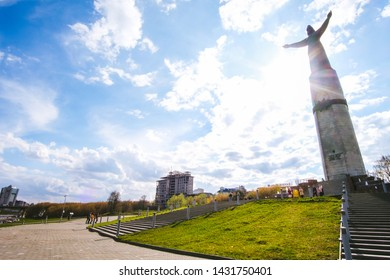 Cheboksary, Russia, May 2019: A statue of a patron mother on Cheboksary Bay on a summer
