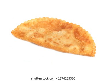 cheburek with meat on a white background