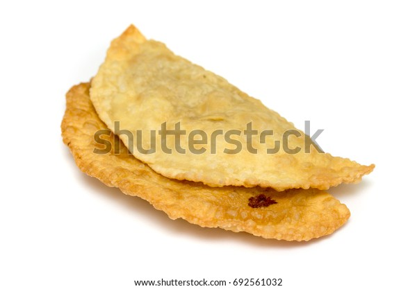 Cheburek - traditional dish of many Turkic and Mongolian peoples, isolated on white background