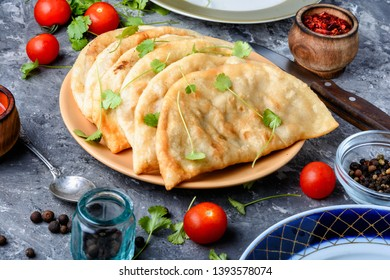 Cheburek, unleavened patty stuffed with minced meat.Traditional Tatar pastry