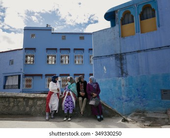 CHECHAOUEN, MOROCCO - NOVEMBER 2, 2015: One of the streets in Chefchaouen in Morocco. All the houses and walls are painted blue. Popular tourist destination in Morocco.