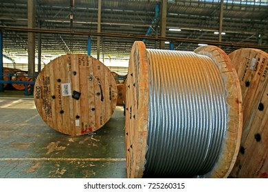 CHECHEANGSOW-THAILAND-SEPTEMBER 29 : Electrical power cable reel at factory on September 29, 2016 Chacheangsow Province, Thailand