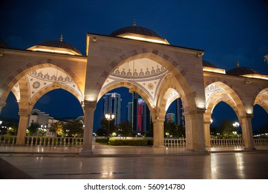 Chechnya mosque.Chechnya mosque lights eye charms. Chechnya Mosque crafts. Lighting of Chechnya Mosque.night view