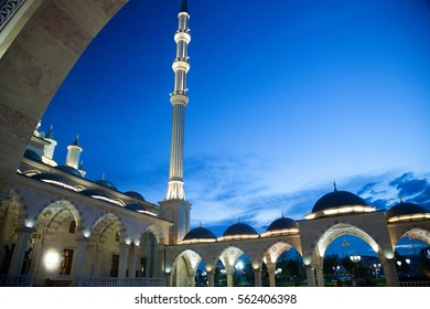 Chechnya mosque.Chechnya mosque lights eye charms. Chechnya Mosque crafts. Lighting of Chechnya Mosque.night view of the