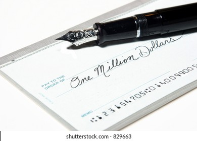 Check for 1 Million Dollars, Silver/black fancy fountain pen