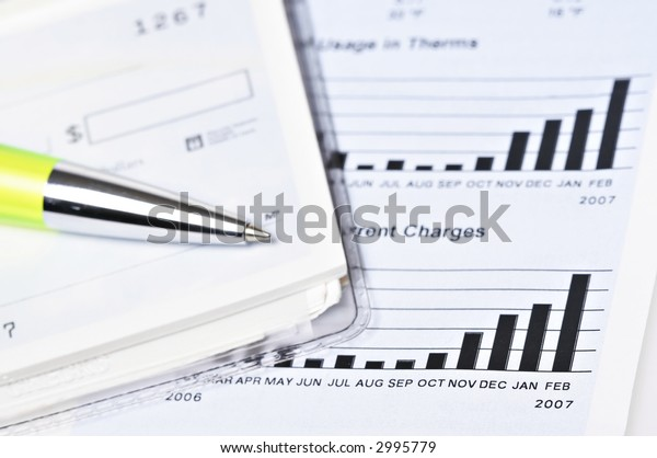 Check book on top of the gas billing statement