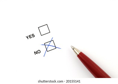 Check box for selection on white paper with pen