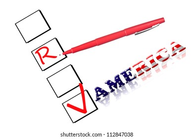 """Check boxes with a red pen and the text """"America"""" made from the stars and stripes flag."""