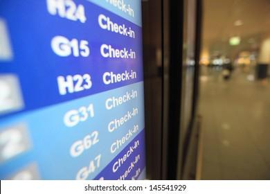 check in desk in airport
