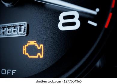 Check engine light illuminated on dashboard.