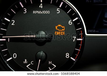 Check Engine Light Illuminated On Dashboard Stockfoto Nu Bewerken
