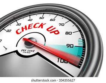 Check up to hundred per cent conceptual meter, isolated on white background