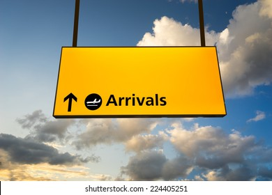 Check in, Airport Departure & Arrival information sign