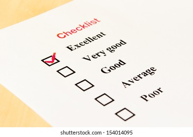 Check list form with check boxes and a red checkmark