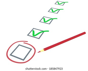 Check list. Green ticks in check boxes