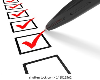 Check list. Red ticks in checkboxes and pen. 3D illustration.