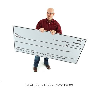 Check: Looking Up and Holding Big Blank Check