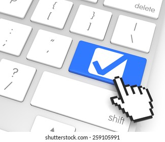 Check Mark enter key with hand cursor. 3D rendering