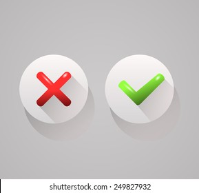 check mark icons, tick and cross on buttons