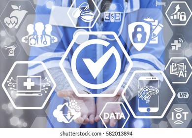 Check mark medicine health care IT integration concept. Doctor offer checkmark icon on virtual medical screen. Tick, click, check sign. BIG DATA, IoT, AI, web cloud, computing, insurance technology