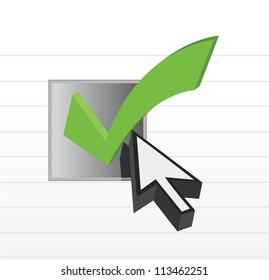 check mark online selection and cursor illustration