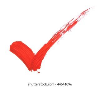 Check mark in red bold brush stroke
