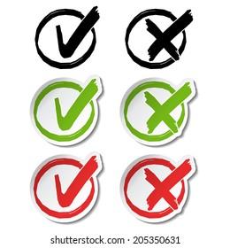 check mark symbols, circular buttons