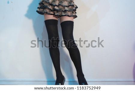 a4af508ec5d Check Mini Skirt Knee High Socks Stock Photo (Edit Now) 1183752949 ...