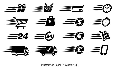 Check Out Shopping Delivery Icons Symbol Button - Raster Version
