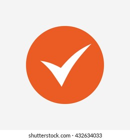 Check sign icon. Yes symbol. Confirm. Orange circle button with icon.
