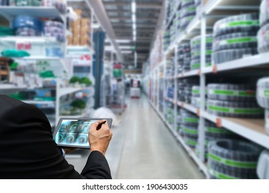 Check stock of products in industrial warehouse with technology