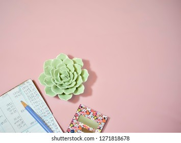 Checkbook with Calculator and Plant on Pink Background