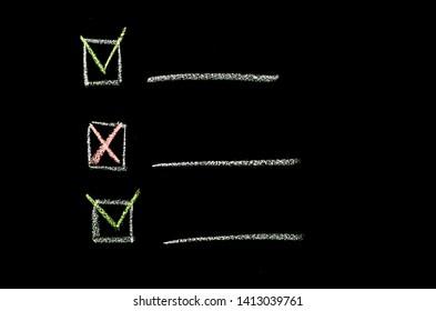 checkbox hand drawn on chalkboard