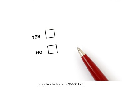 Checkbox for selection on white paper with ballpen