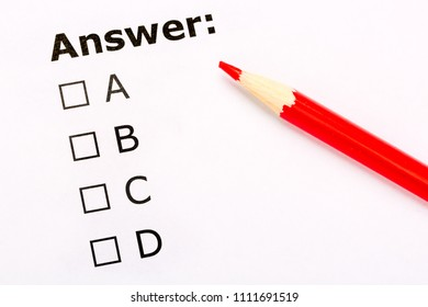 Checkboxes questionnaire with red pencil. Testing and exam concept.