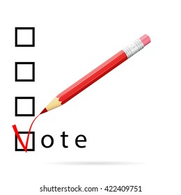 Checkboxes for voting with a red pencil, vote concept, 3d raster image