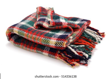 Checked blanket isolated on white