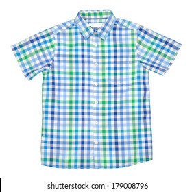 Checked colored t-shirt for boy isolated with clipping path over white background