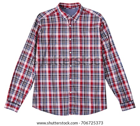 8c29cdbcabf Checked male shirt isolated on white background.Fashion men s clothing.