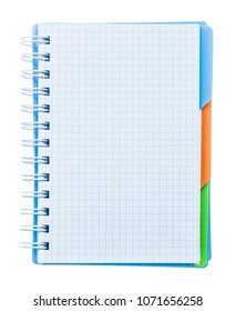 Checked notebook isolated on white