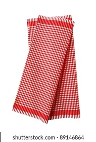 Checked red and white tea towel - studio; cutout; isolated on white
