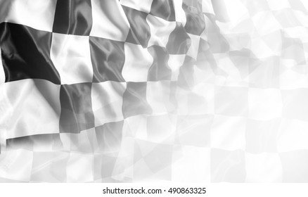 Checkered black and white flag. Copy space - Shutterstock ID 490863325