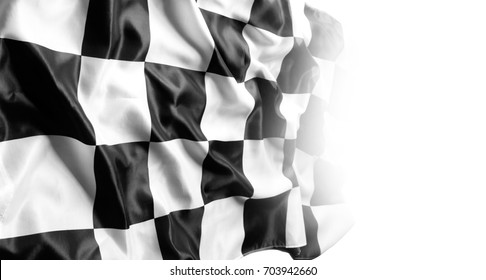 Checkered black and white racing flag on white