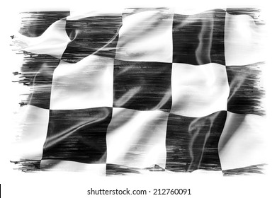 Checkered flag on plain background