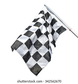 Checkered flag photo imgmage isolated on white background. This has clipping path.