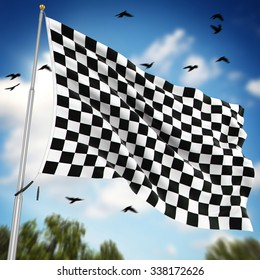Checkered flag , This is a computer generated and 3d rendered image.