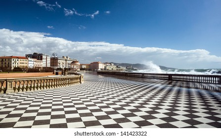 Checkered floor in city square. Livorno, Tuscany, Italy.