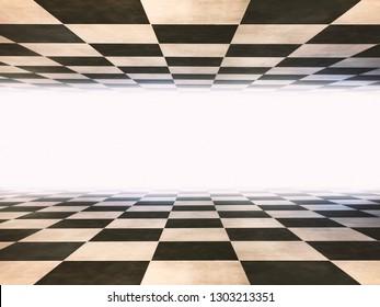 Checkered infinite room background texture.